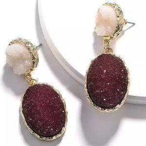Anthro Druzy Crystal Drop Earrings